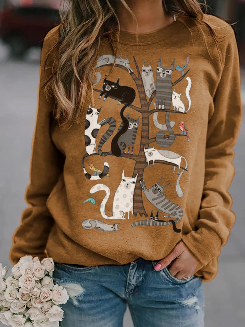 Women's Cat Tree Print Sweatshirt
