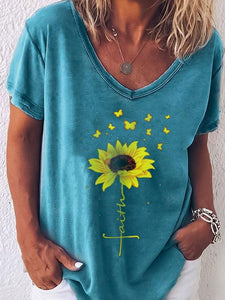 Top con estampado de mariposas de girasol de Faith