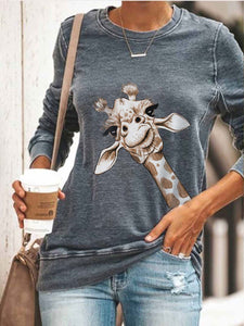 Women's Cute Giraffe Printed Sweatshirt