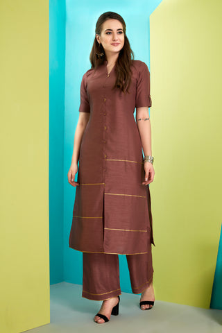 Purple Cotton Kurta with Palazzo