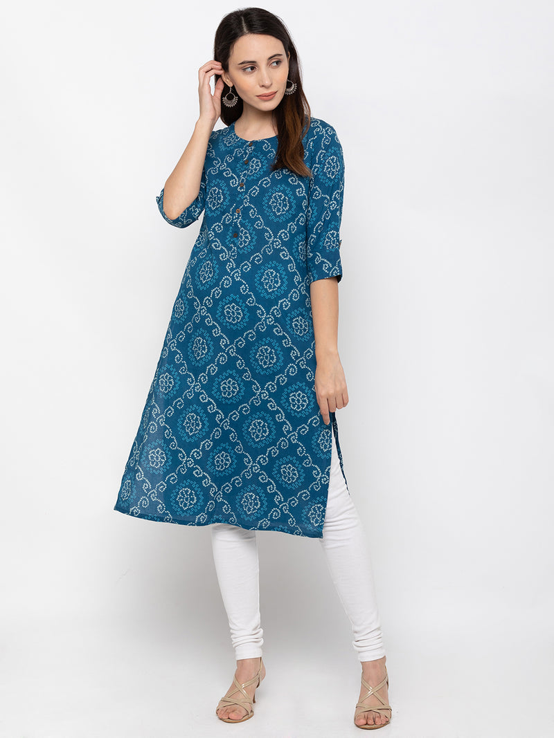 Marvelous Blue Cotton Round Neck Kurti
