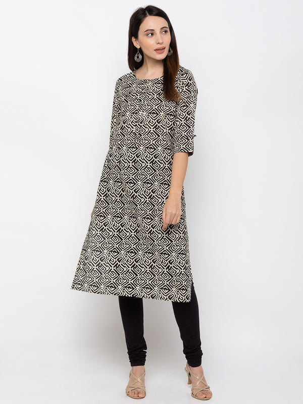 Chic Black Printed Kurti for Women