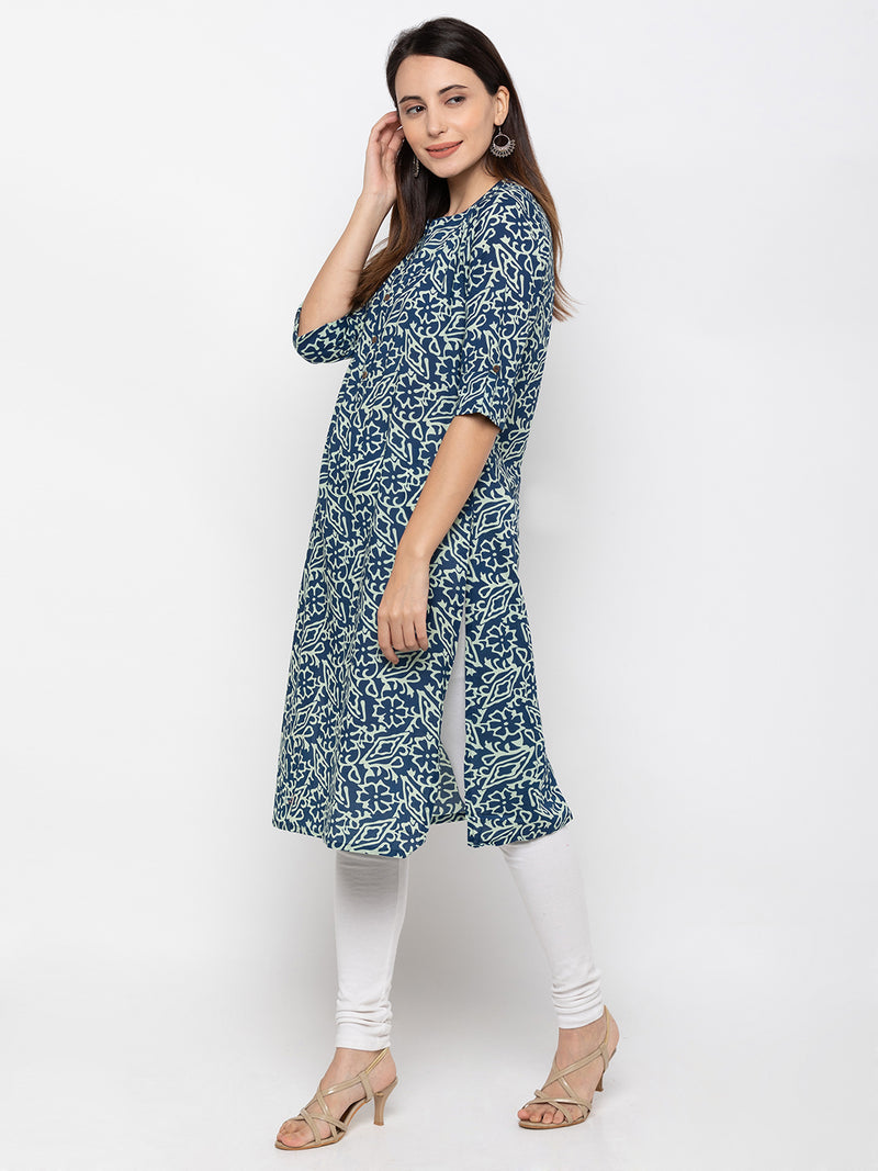 Fashionable Round Neck Blue Kurti