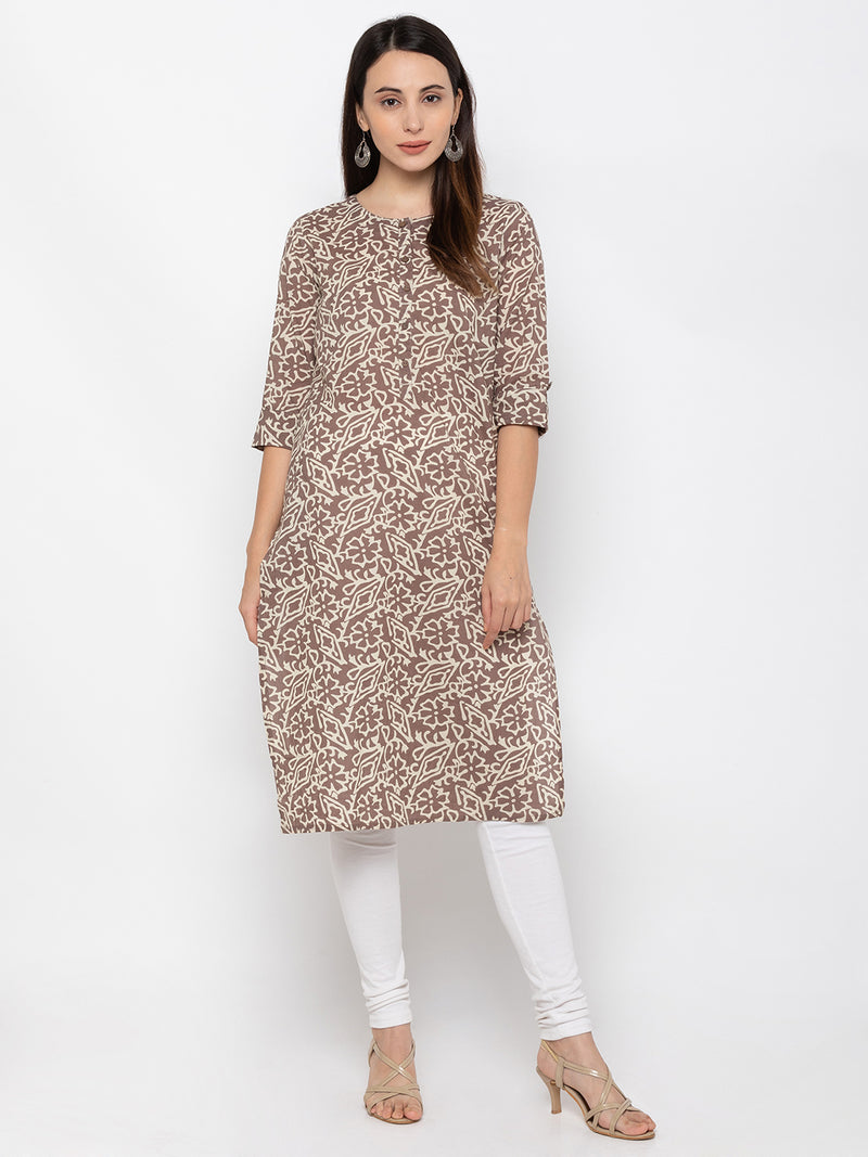 Snazzy Brown Round Neck Printed Kurti
