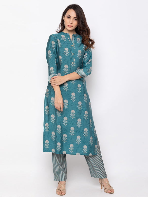Fashionable Blue Rayon Chinese Collar Palazzo Set