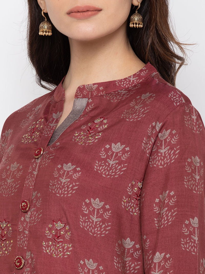 Royal Maroon Cotton Chinese Collar Palazzo Set