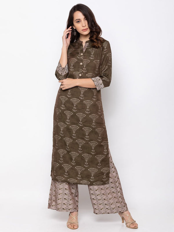 Beautiful Mehndi Rayon Chinese Collar Palazzo Set