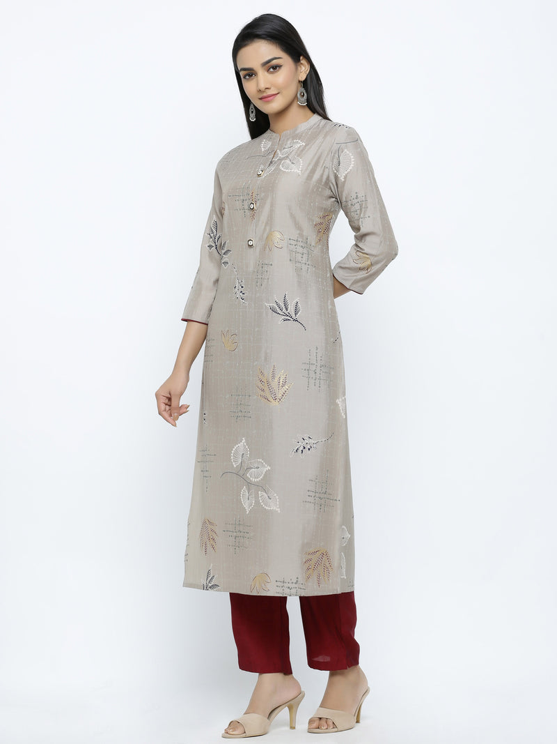 ZOLA Silver Modal Silk All-Over Floral Printed Kurti + Palazzo Set