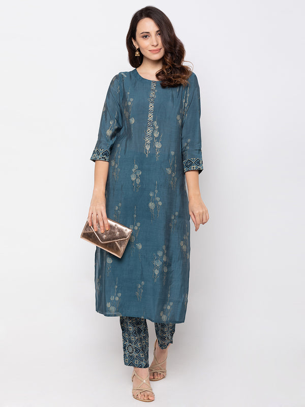 Blue Chanderi Round Neck Palazzo Set