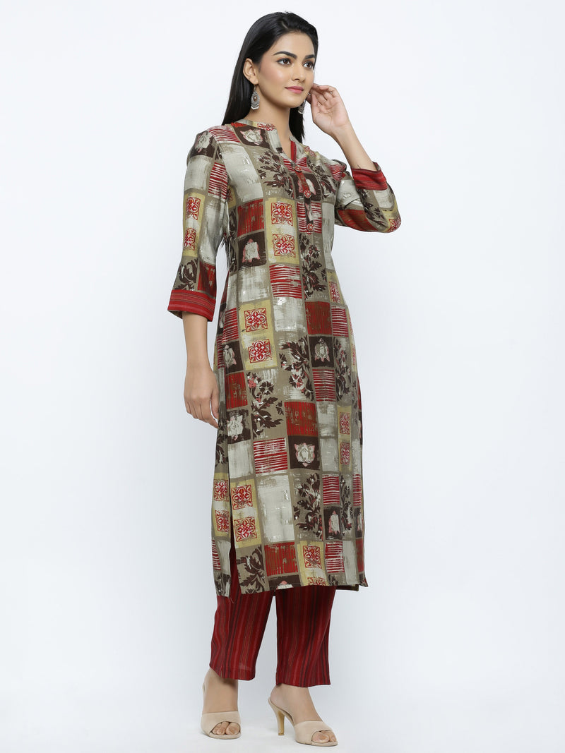 ZOLA Multi Modal Silk Abstract Checkered Printed Kurti + Palazzo Set