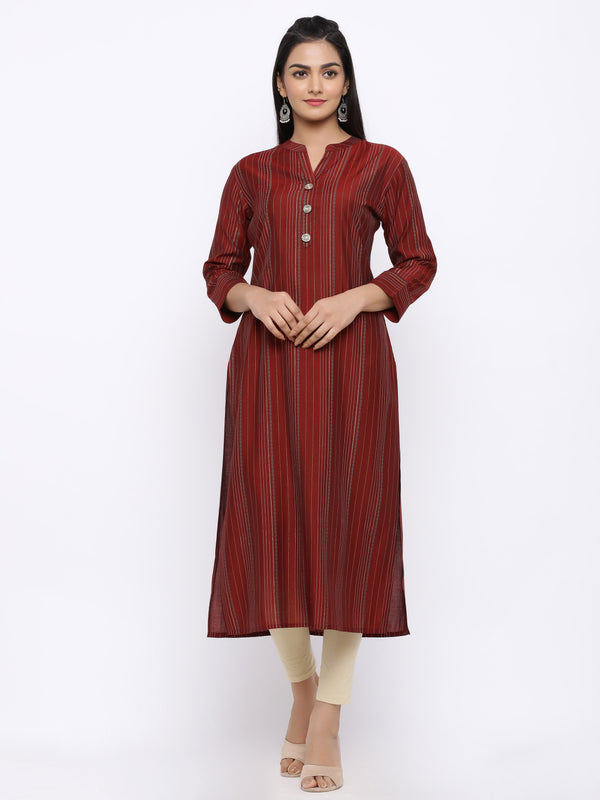 ZOLA Maroon Modal Silk Striped Straight Kurti