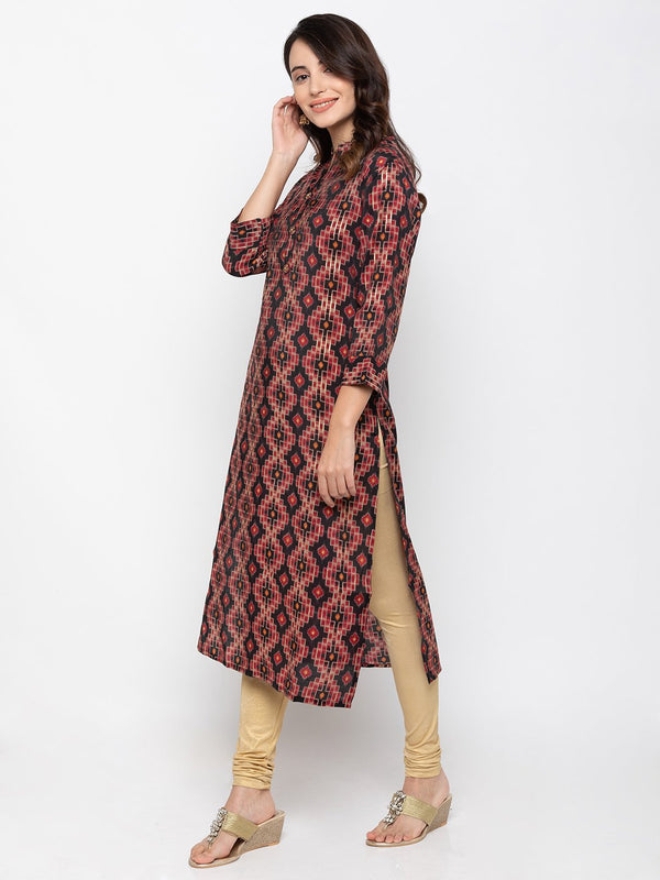 Stylish Multi Modal Silk Chinese Collar Printed Kurti