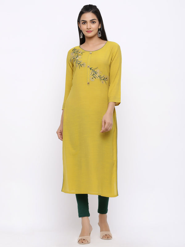 ZOLA Yellow Modal Silk Kurti with Floral Embroidery