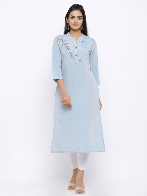 ZOLA Sky Blue Modal Silk Kurti with Floral Embroidery
