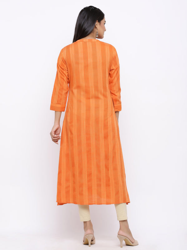 ZOLA Orange Modal Silk Striped Kurti with Embroidery Details