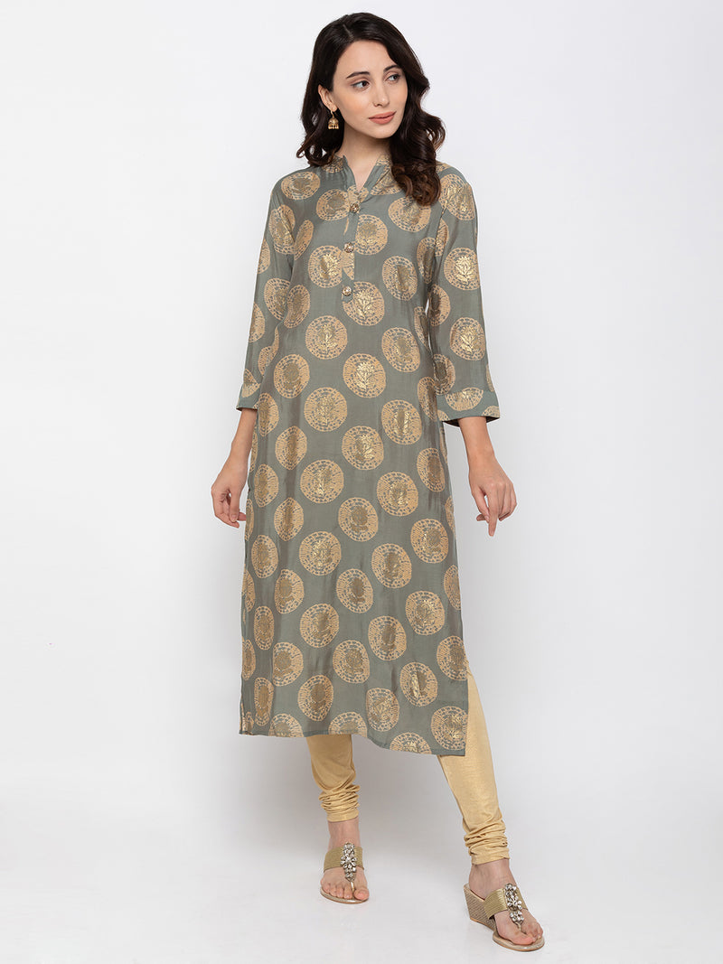 Dazzling Grey Modal Silk Chinese Collar Printed Kurti