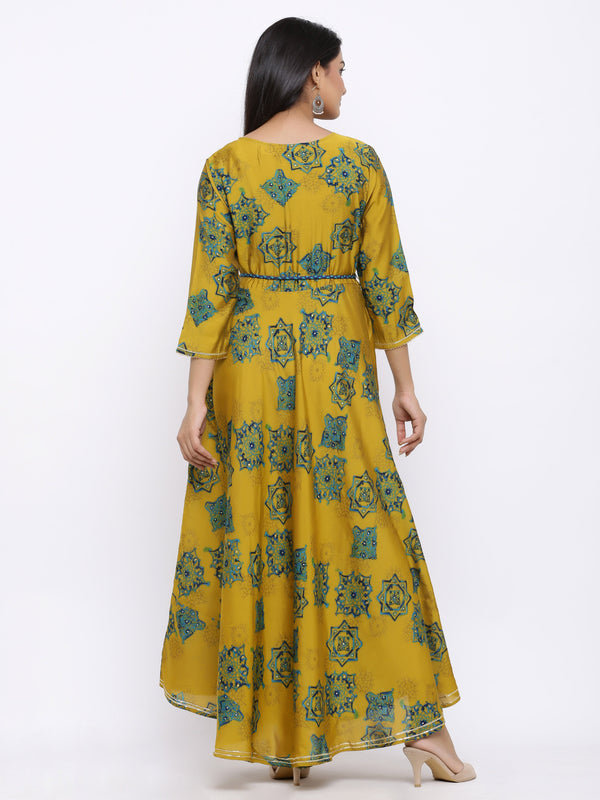 ZOLA Green Modal Silk All-Over Geometric Printed Flared Kurti with Embroidery
