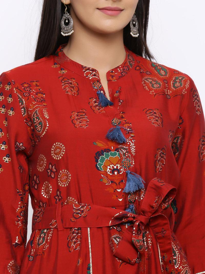 ZOLA Red Modal Silk All-Over Printed Vibrant Kurti with Belt