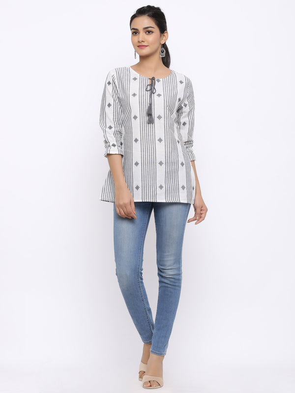 ZOLA White Striped Ikat Short Kurta with Tie-Up