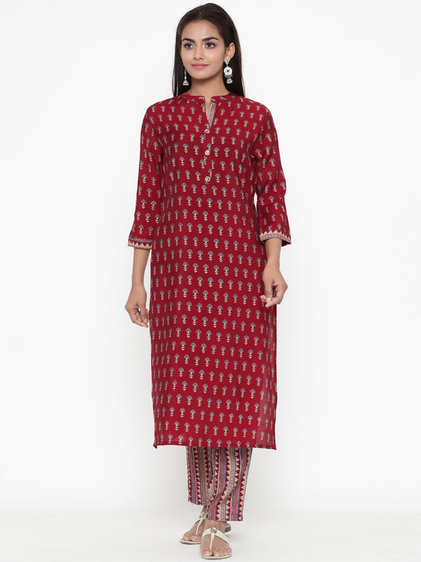 ZOLA Red Synthetic Block Print Straight Fit Kurta Set for Women