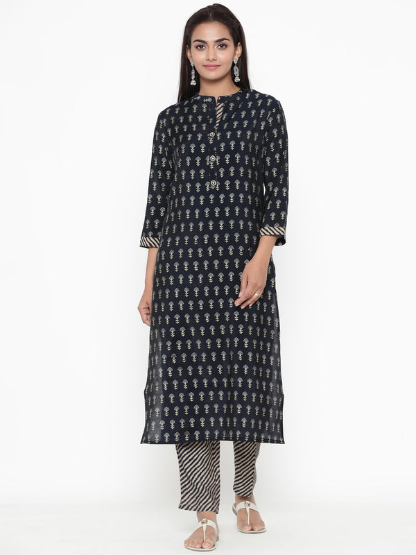 ZOLA Navy Blue Synthetic Block Print Straight Fit Kurta Set for Women