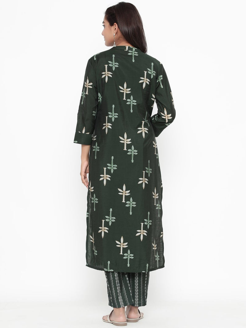 ZOLA Olive Green Modal Printed Straight Fit Kurta Set for Women