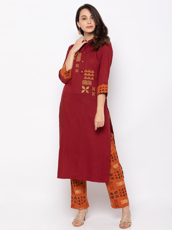 ZOLA Maroon Cotton Kurta with Trouser