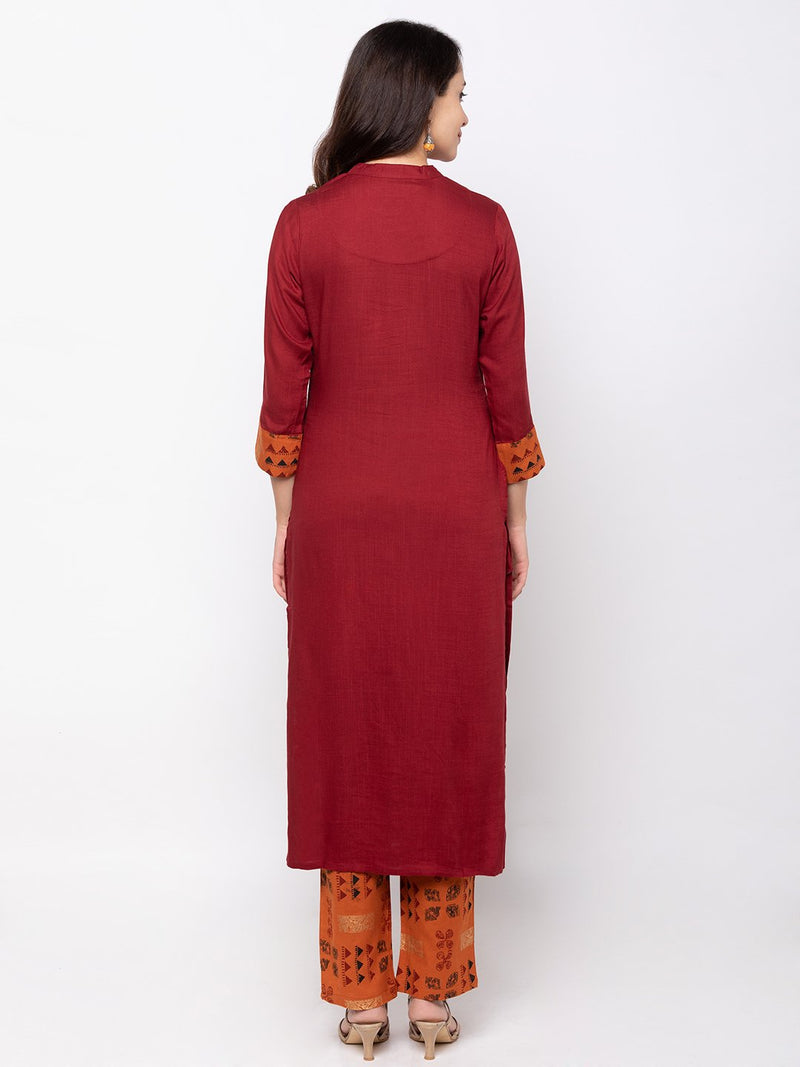 Maroon Cotton Kurta with Trouser