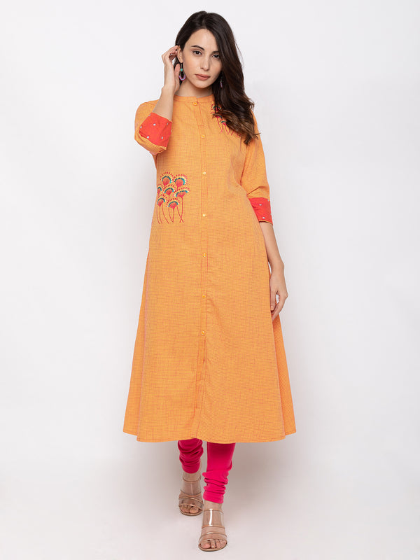 Classy Orange Cotton Chinese Collar A-line Kurti