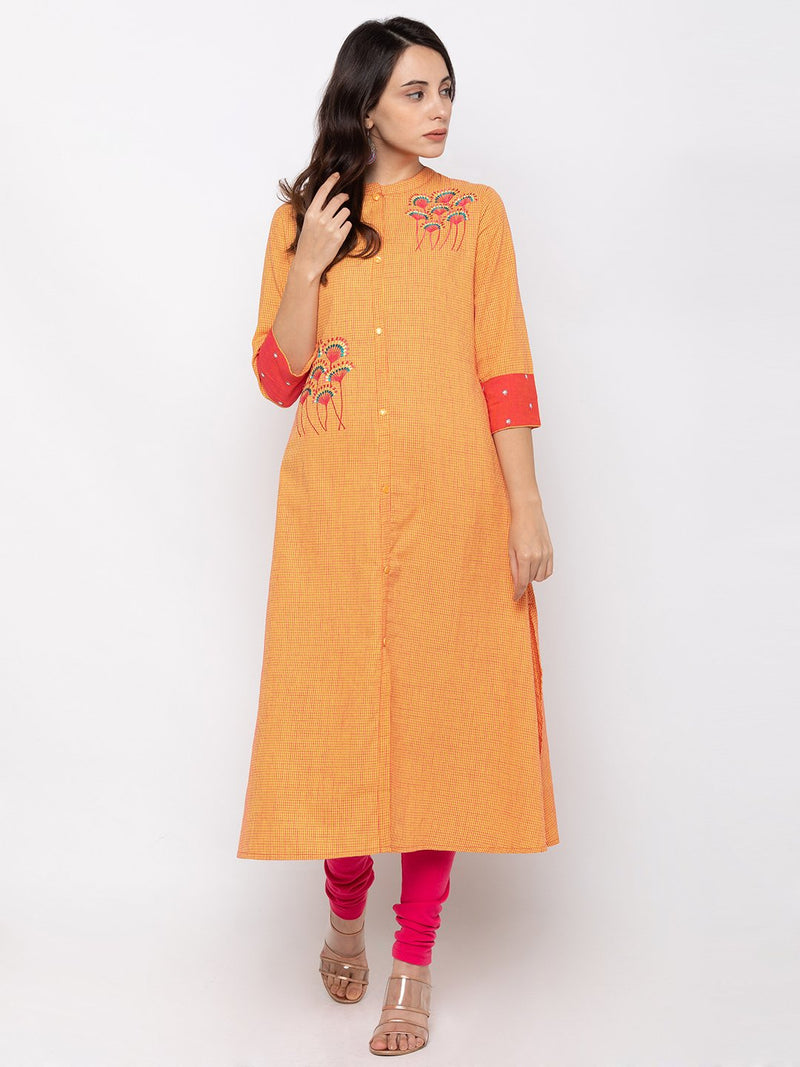 Classy Orange Cotton Chinese Collar A Line Kurti
