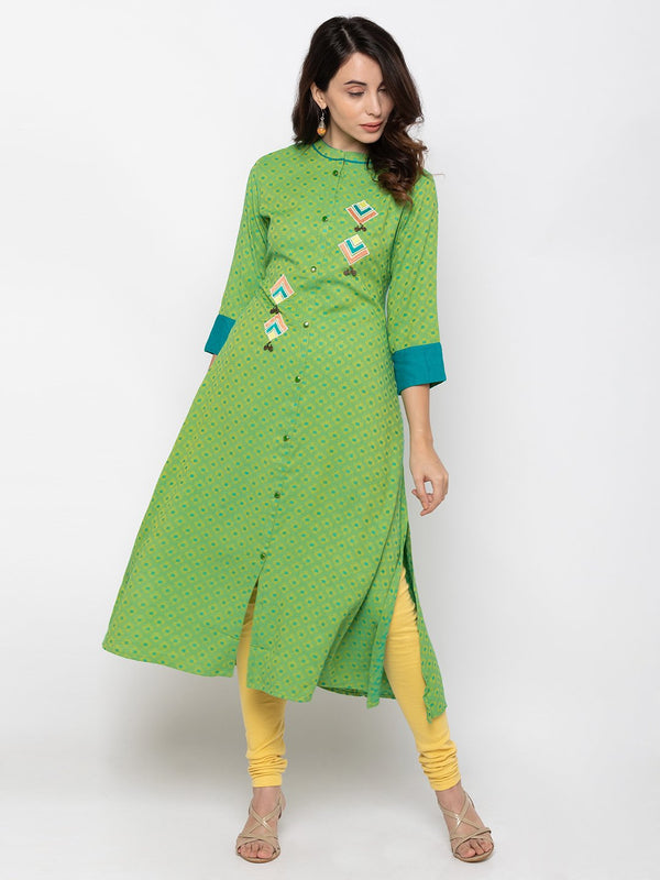 Alluring Green Cotton Chinese Collar Aline Kurti