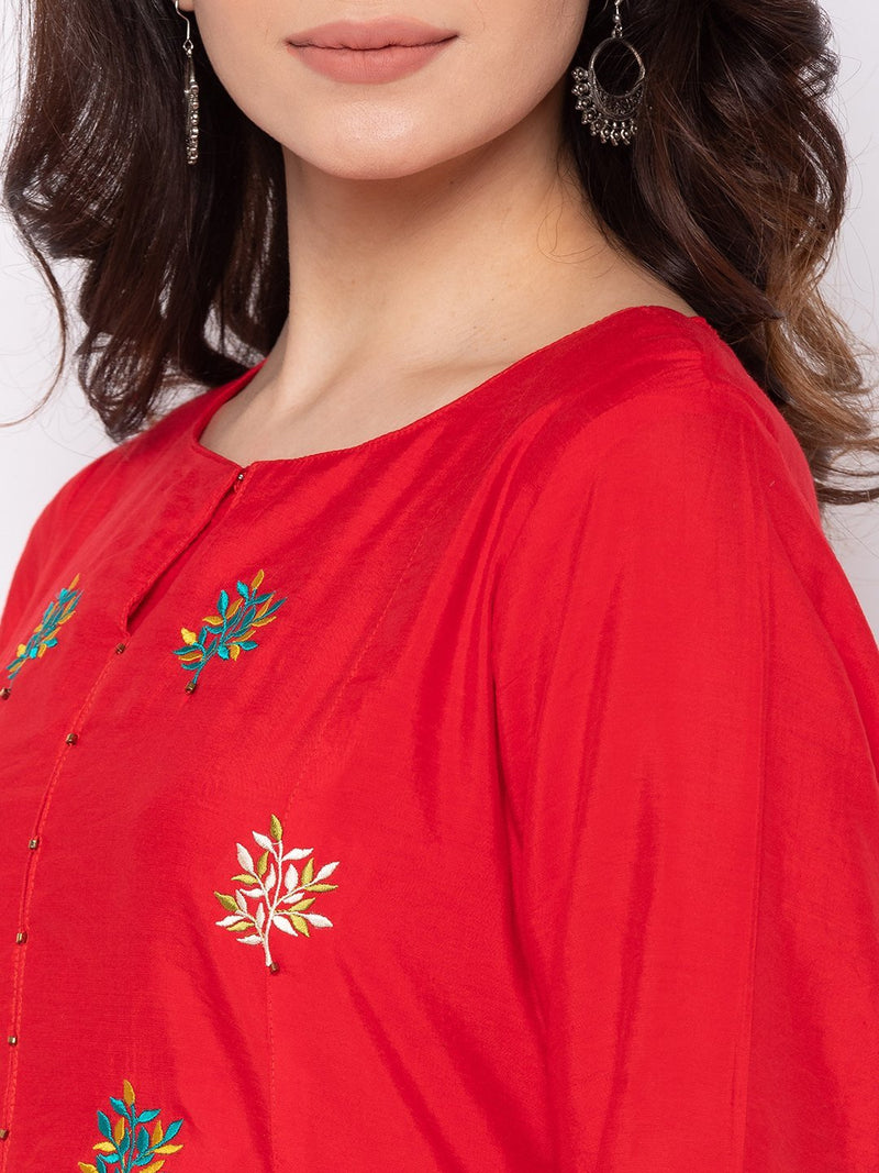 Bold Red Cotton Round Neck Palazzo