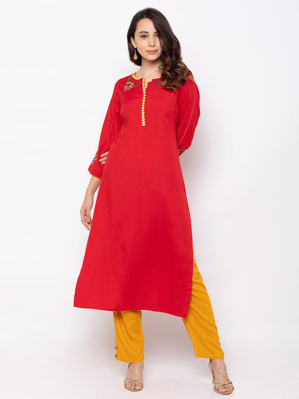 Red Cotton Round Neck Palazzo Set