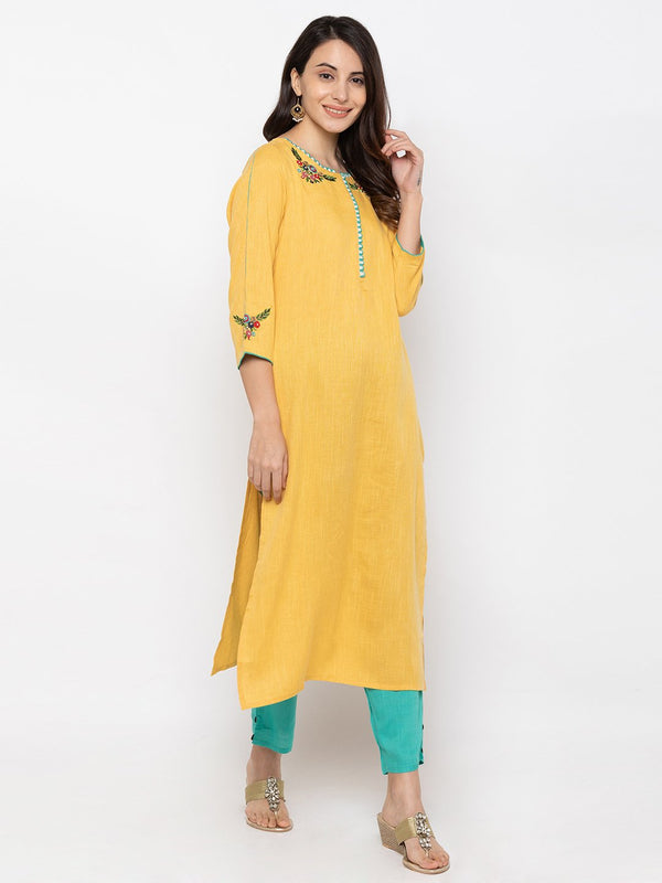 ZOLA Yellow Cotton Round Neck Kurta + Palazzo Set