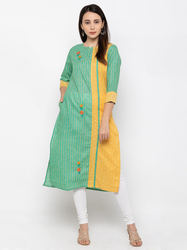 Gorgeous Teal Modal Silk Round Neck Striped Kurti
