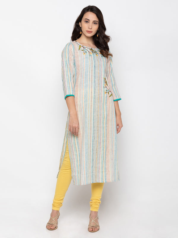 Soothing White Linen Round Neck Striped Kurti