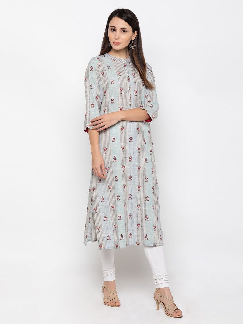 Adorable Multi Linen Chinese Collar Printed Kurti