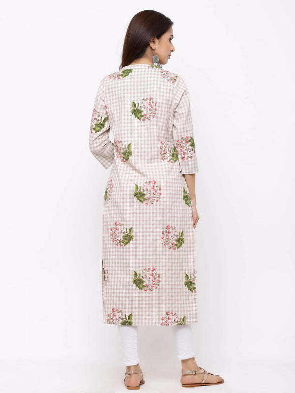 ZOLA Checks Straight Kurti with Floral Print and Pockets