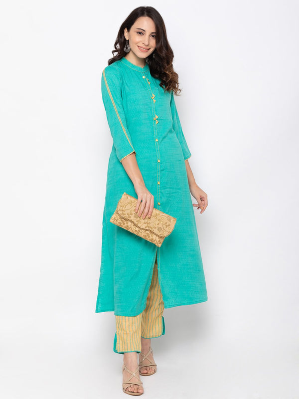 Delightful Teal Cotton Chinese Collar Palazzo Set