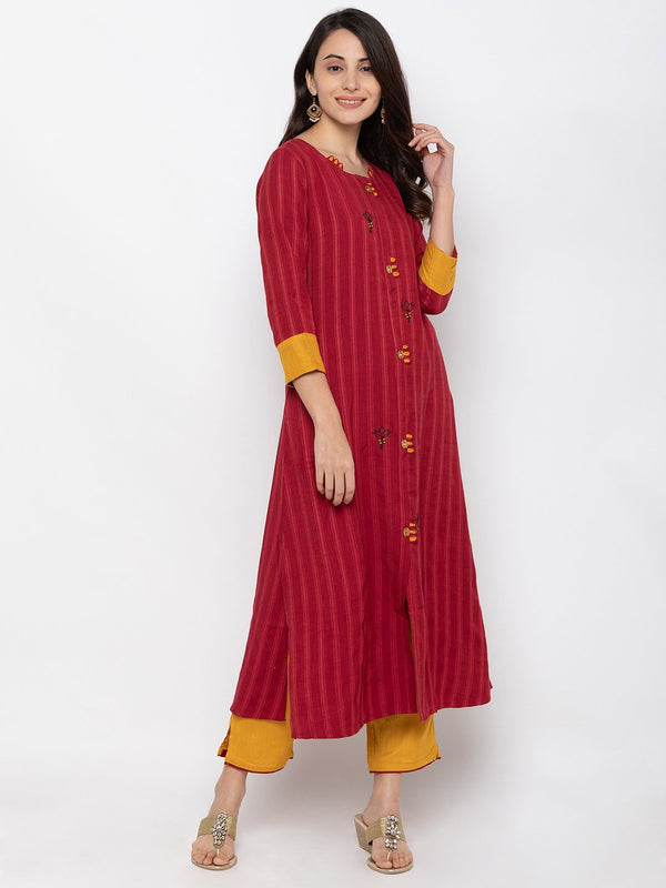 Breathtaking Maroon Cotton Round Neck Palazzo Set