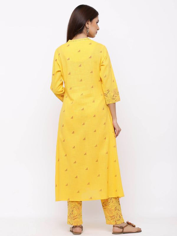 ZOLA A-Line Yellow Printed Kurti paired with Palazzos