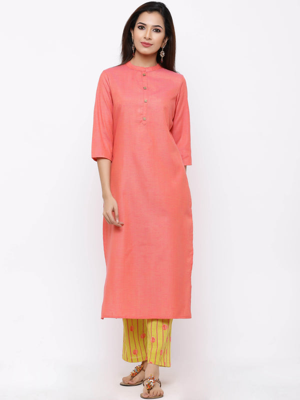 ZOLA Basic Straight Kurti paired with Striped Palazzo Pants