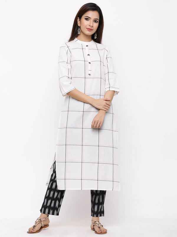 ZOLA A-Line Checks Kurti paired with Ikat Palazzo Pants