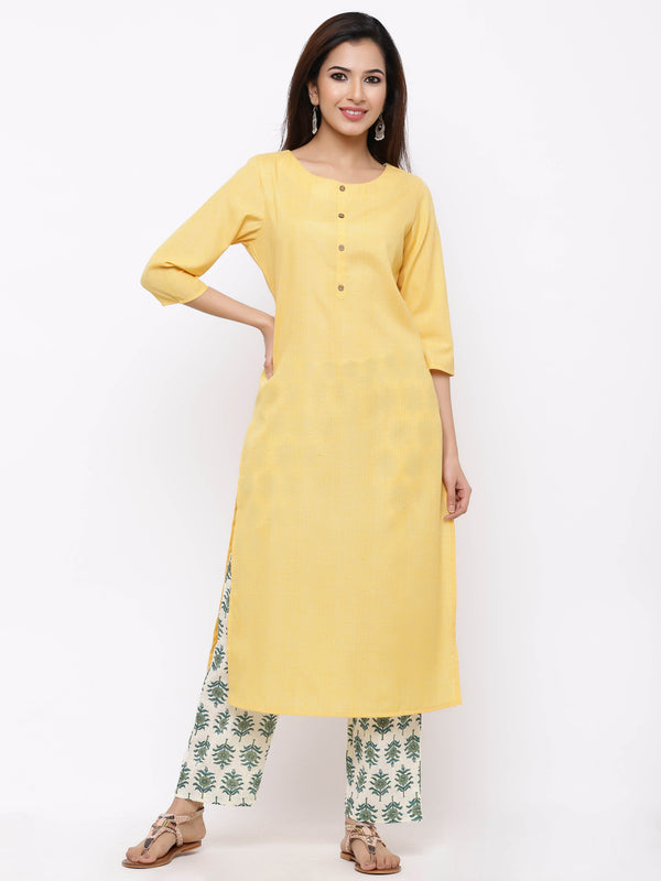 ZOLA Basic Yellow Kurti paired with Palazzo Pants