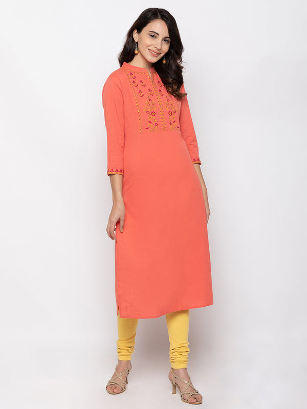 ZOLA Soft Peach Cotton Chinese Collar Straight Kurti