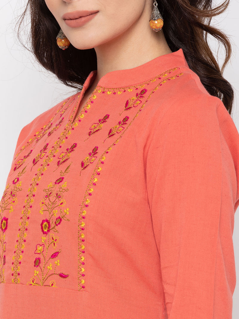 Soft Peach Cotton Chinese Collar Straight Kurti