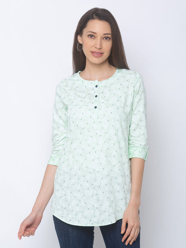 ZOLA Pista Green Short Printed Tunic