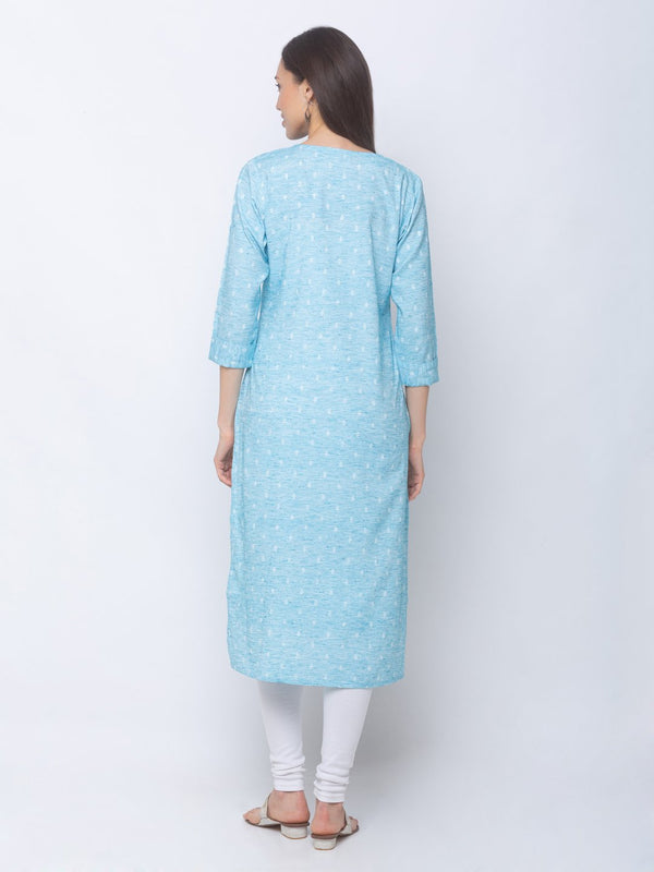 ZOLA Textured Regular Kurti with Pockets