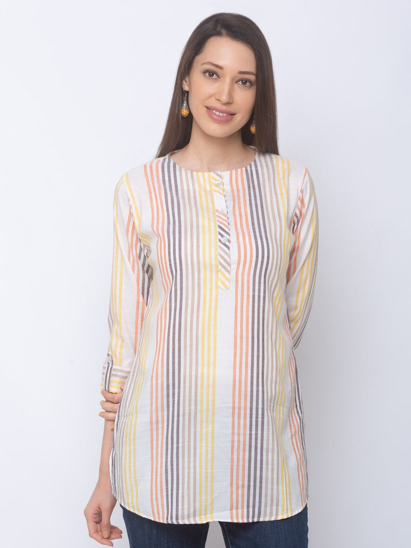 ZOLA Basic Short Multi-Coloured Striped Tunic