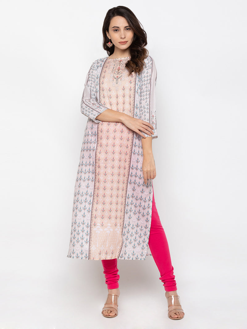 Attractive Peach Modal Silk Round Neck Printed